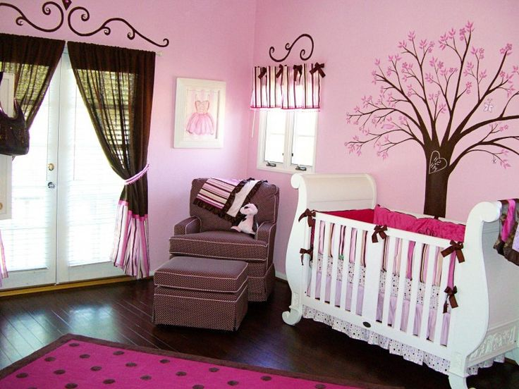 white wooden baby crib on the floor and pink wall theme connected by black  and pink fabric window curtains on the hooks. Awesome Room Design Ideas For  Girls ...