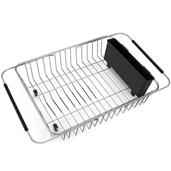 Sanno Expandable Dish Drying Rack Over The Sink Adjustable Arms