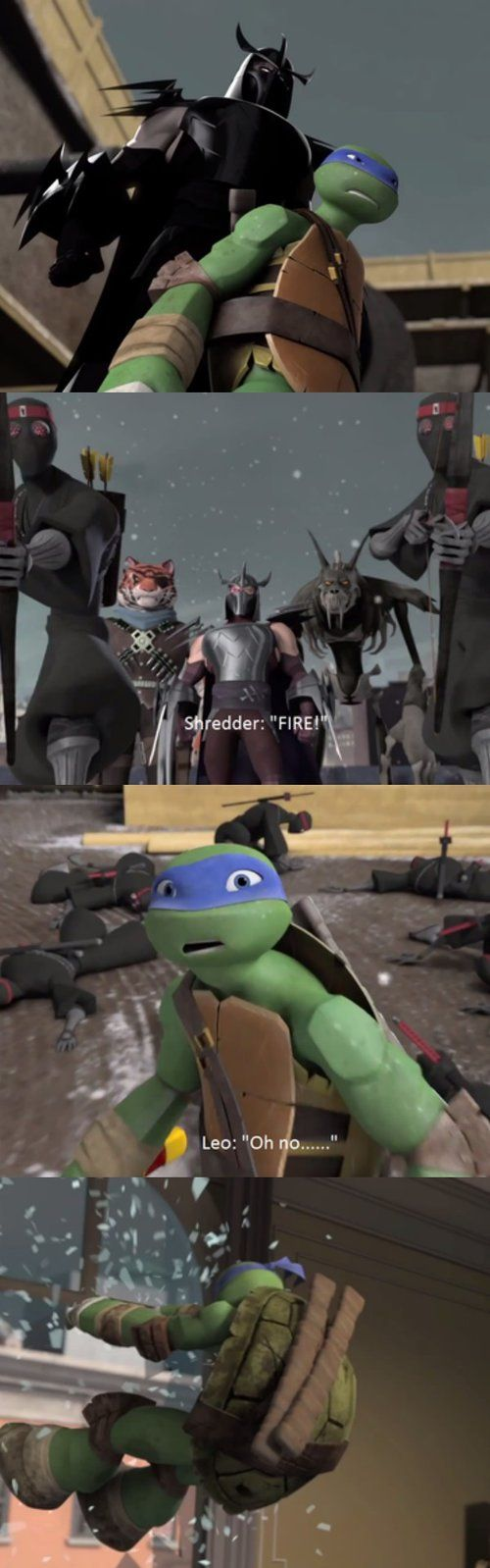 LEO! NO! by TMNTFanchick on deviantART (Not exactly fanart, and would usually be put on my random board, but c'mon… I can't be the only one who is FREAKING OUT!)