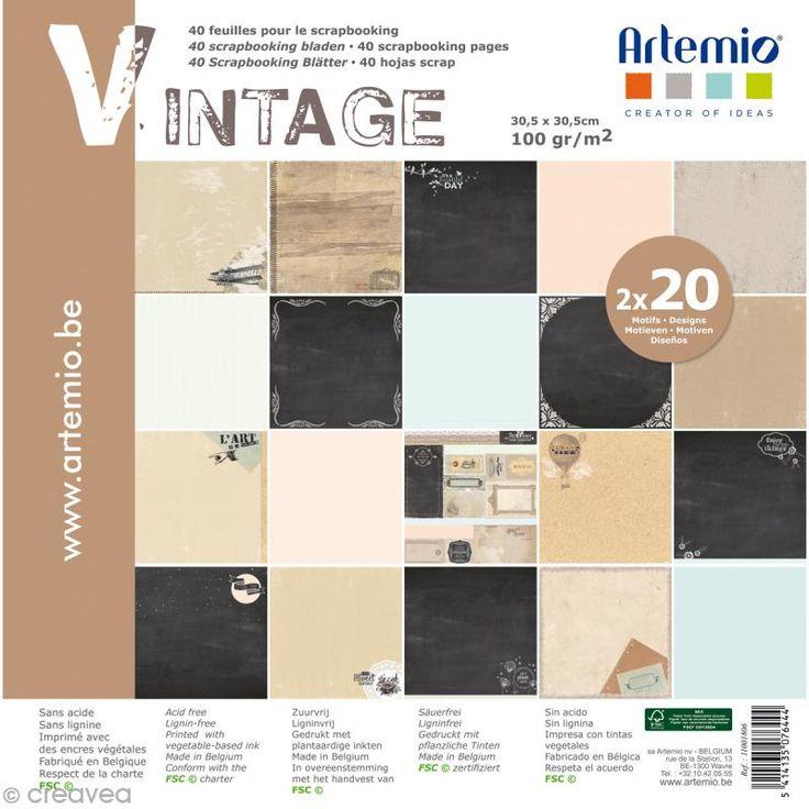 Papier Scrapbooking Artemio - Vintage - 30,5 x 30,5 cm - 40 pcs - Photo n°1