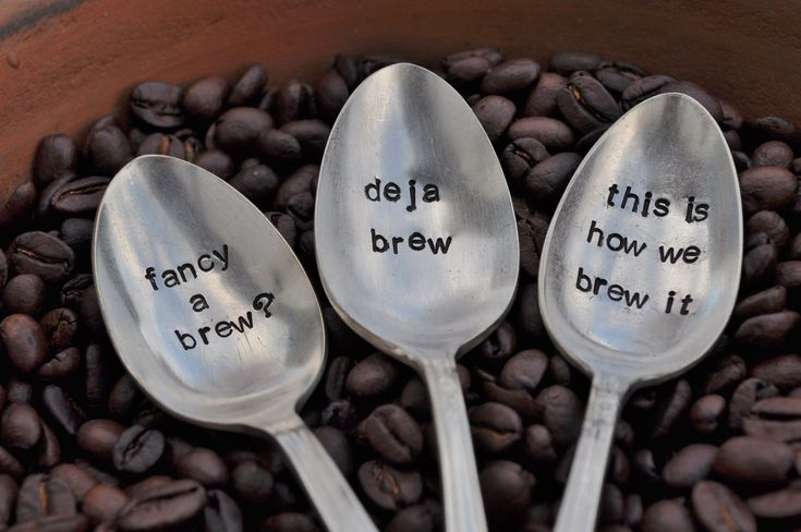 PICK 3- Hand Stamped Vintage Spoons for COFFEE LOVERS (Pick your own Words)