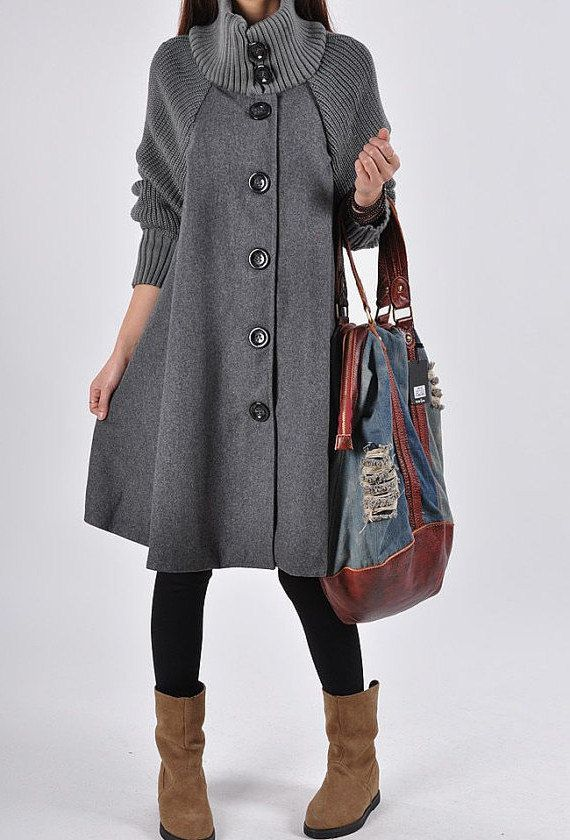 Gray wool Princess style cape Hood Coat winter Jacket cute coat women coat winter coat