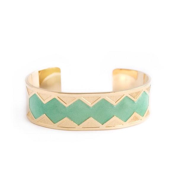 Bracelet Manchette Ulysse Menthe Anne Thomas  A shopper sur www.autreshop.com !