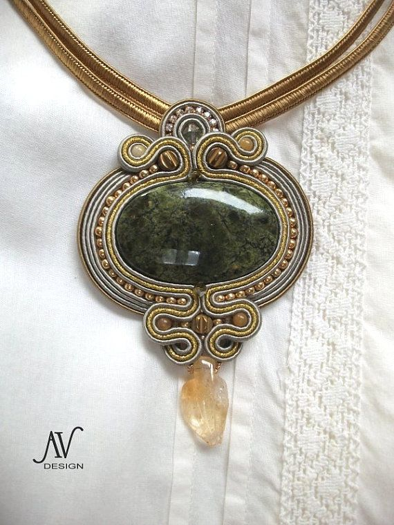 Soutache pendant Colours of Autumn by AnnetaValious on Etsy, $160.00