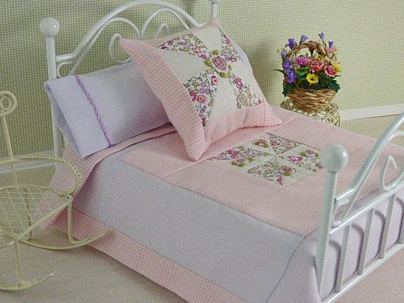 Dolls House Bedding Set 1//12 Handmade-Bed-18 Patterns Double size