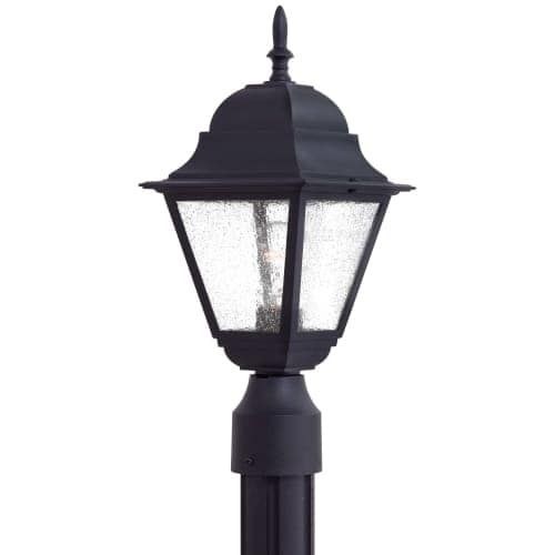 The Great Outdoors GO 9066 1 Light Post Light from the Bay Hill Collection, Silver aluminum