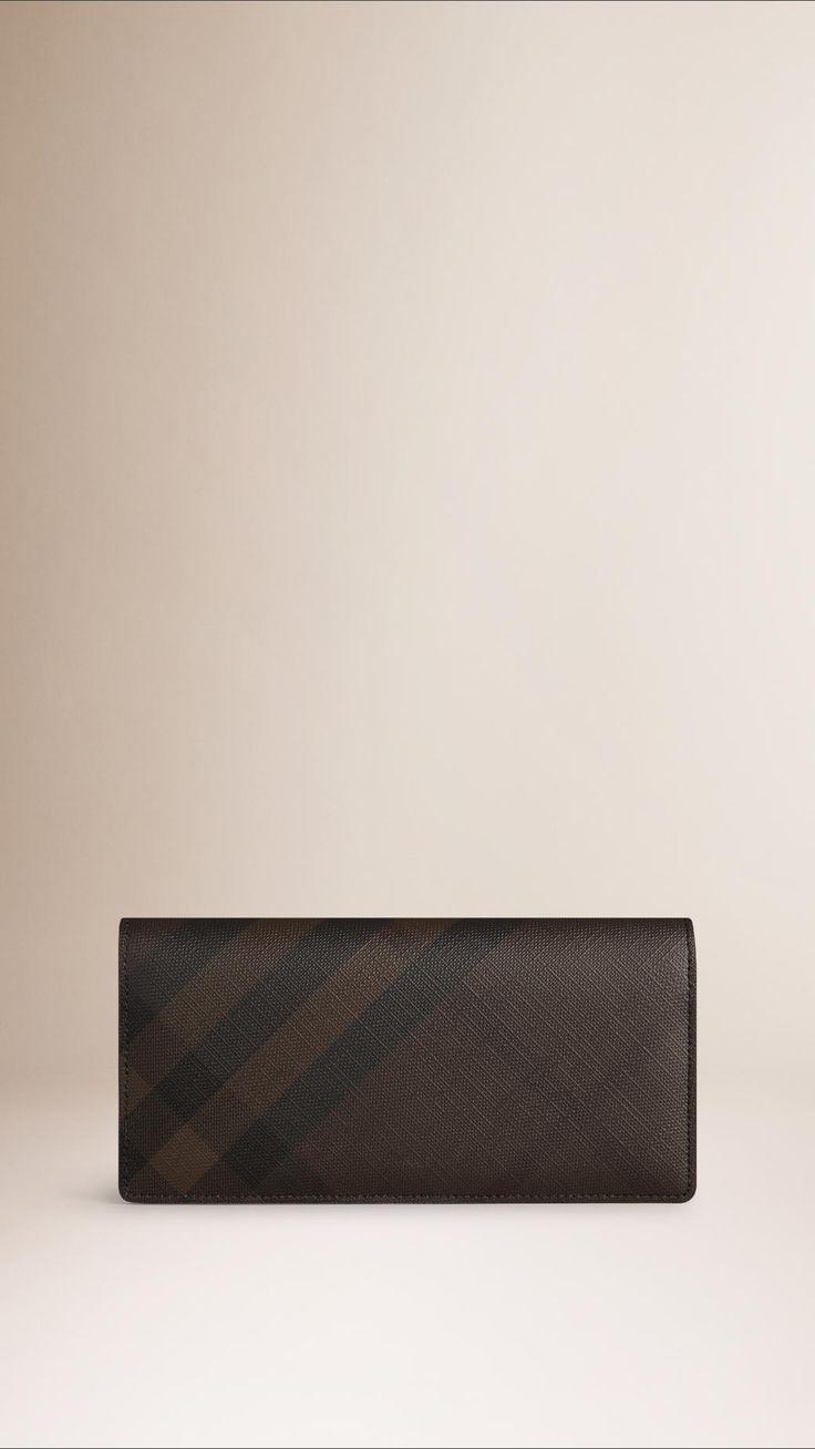 Portefeuille continental à motif Smoked check Chocolat/Noir | Burberry