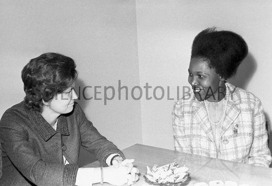 Valentina Tereshkova and Grace Ogot. Chairman of the Committee of Soviet Women, and Russian cosmonaut Valentina Tereshkova (born 1937, left) meeting with Kenyan writer and politician Grace Ogot (born 1934). Tereshkova was the first woman in space, making her only flight on the Vostok 6 mission of 16-19 June 1963. Photographed in Moscow, Russia, on 1st July 1971.