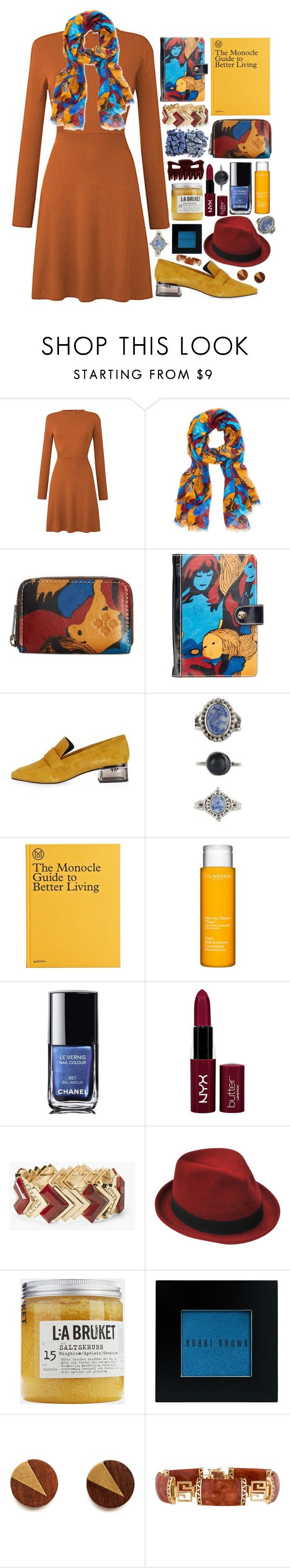 """Better Living"" by ladyvalkyrie ❤ liked on Polyvore featuring Patricia Nash, Topshop, Lovisa, GESTALTEN, Clarins, Chanel, DUO, NYX, White House Black Market and Stetson"