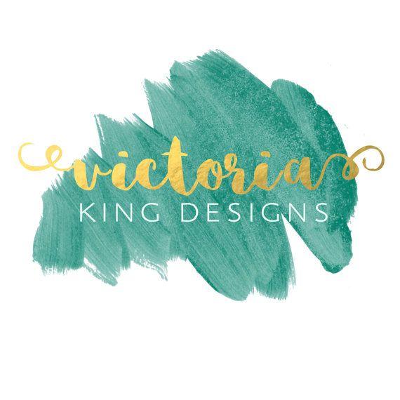 Pre-made Logo Watercolor Emerald Green Gold || Business Website Logo || Brand || Website Logo || Wedding Photography