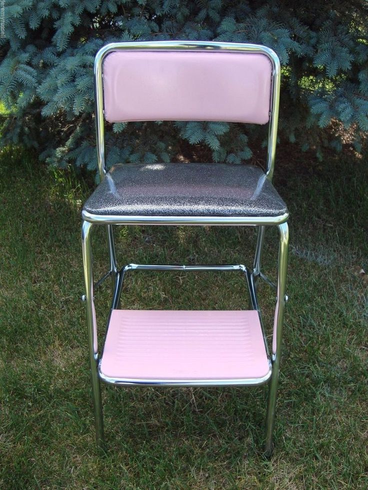 Vintage Cosco Mid Century Chrome Pink u0026 Black Kitchen Folding Step Chair Stool : retro counter chair step stool - islam-shia.org
