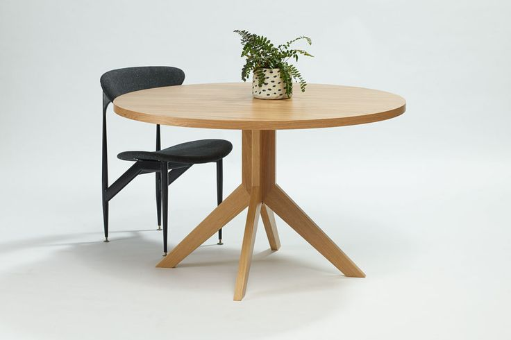 The finnegan round dining table is Australian made with a timber pedestal base and veneer table top. Designed 2014. #australiandesign #australiandesign #AustralianFurniture #graziaandco #roundtable