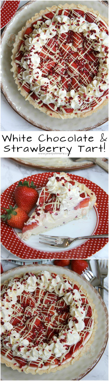 White Chocolate & Strawberry Tart! ❤️ Sweet Shortcrust Pastry, Creamy White Chocolate Filling, Fresh & Freeze Dried Strawberries, Sweetened Cream, and even more Chocolate!