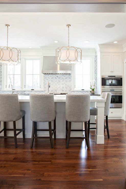 New England Design Works Kitchens Sausalito Five Light Chandelier Polly Beau Monde Glass