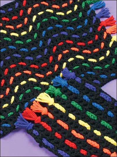 Amish stripes place mat. Try this new technique - crochet 'n' weave using only two simple crochet stitches.
