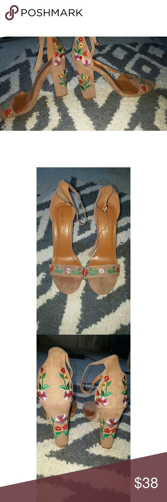 Flower Embroidered Strappy Heels BRAND NEW IN BOXLola, Sold out, Lola Shoetique strappy open toed pumps. Camel colored suede, bright flower embroidery. So cute and comfortable. 4 inch heel. Shoes Heels