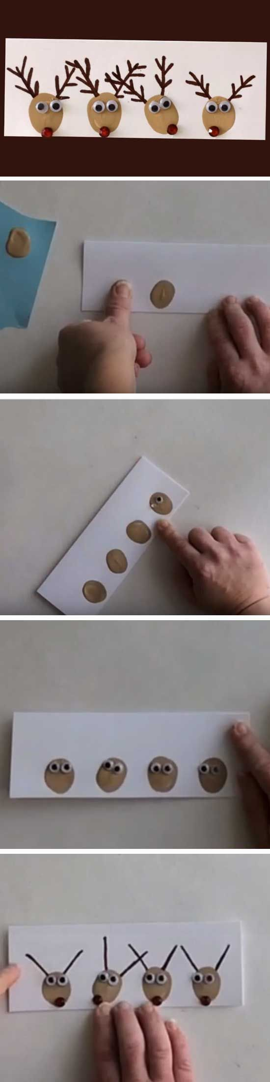 Thumbprint Reindeers | 20 + DIY Christmas Cards for Kids to Make