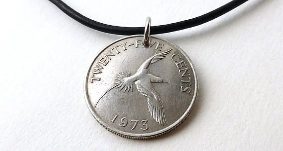 Coin necklace Bermuda Birds Coin jewelry Leather necklace
