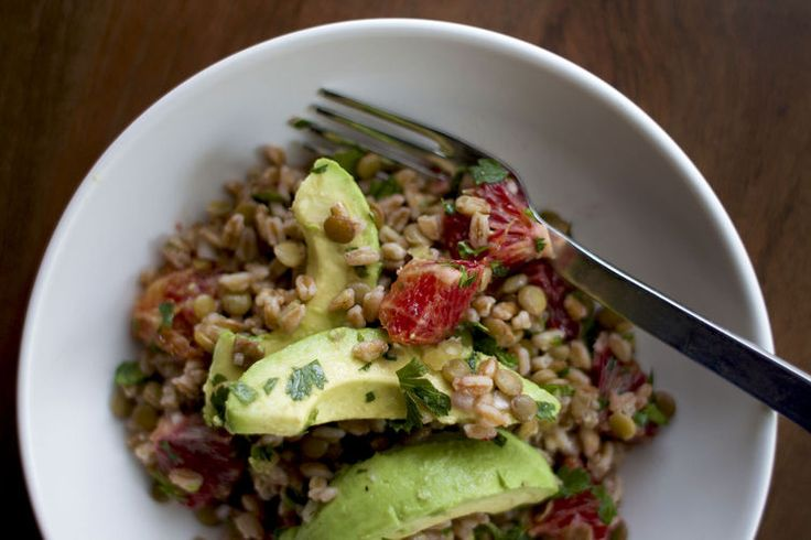 Lentil, Avocado and Farro Salad Recipe on Food52: http://food52.com/blog/9802-lentil-avocado-and-farro-salad #Food52: