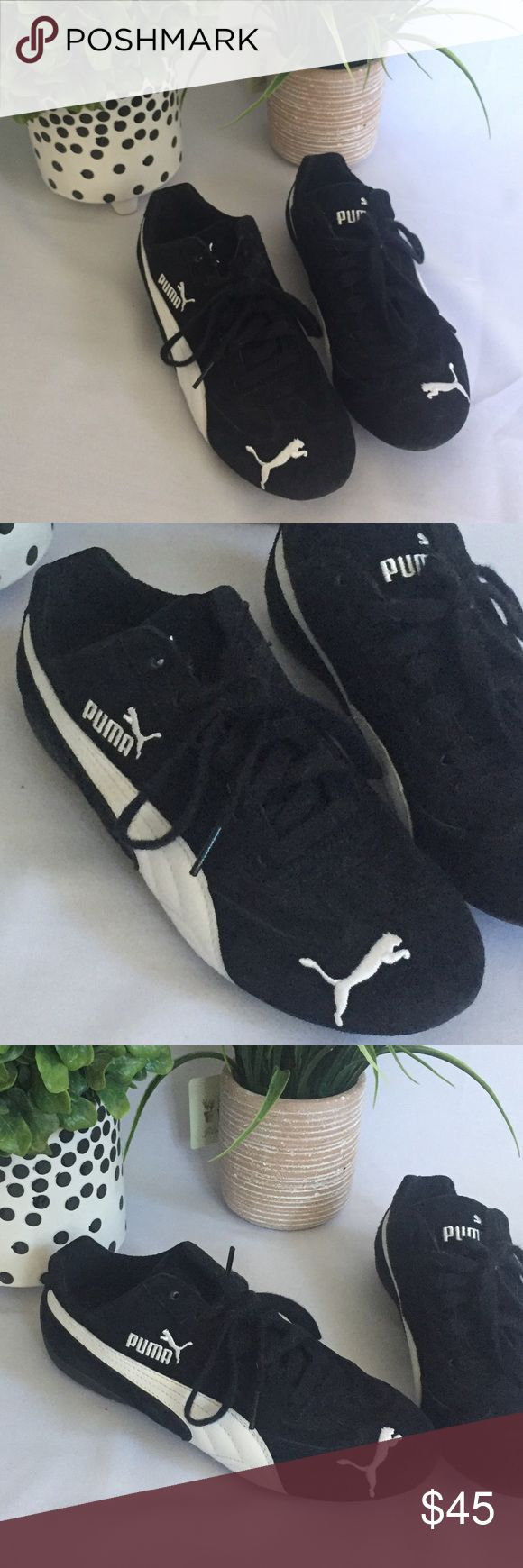 Puma Speed Cat in Black Puma Speed Cat in Black with white stripe. Not worn very much, good condition. Black suede. Puma Shoes Athletic Shoes
