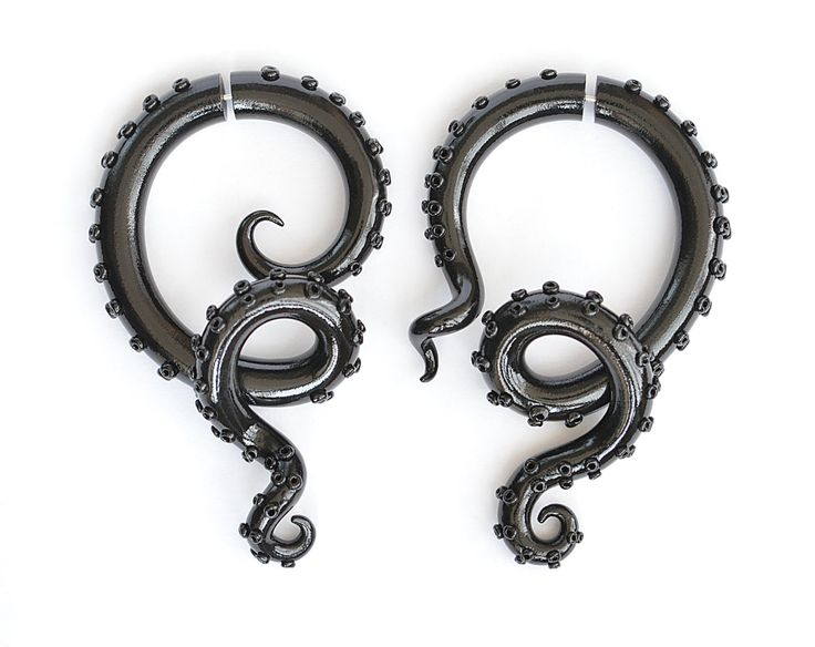Black Shiny Octopus Fake Gauges or Octopus Ear Plugs, Shiny Earrings Fake Gauges, Tentacle Gauge or Octopus Gauge by TaniaChernova on Etsy https://www.etsy.com/listing/228007469/black-shiny-octopus-fake-gauges-or