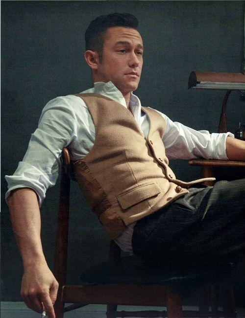 vest and soft pinstripe detail on slacks.