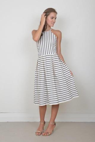 Nautical Dreamer: Cream and navy Nautical stripe cotton summer dress.