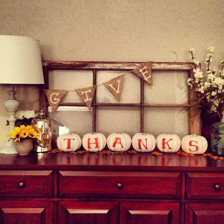 Dollar store pumpkins painted with the word Thanks! Rustic Fall Decor