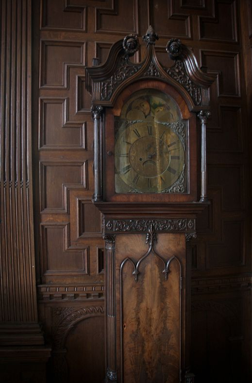 To The Manor Born: Wood paneling & grandfather clock