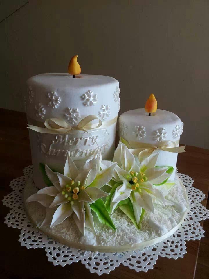Dort marcipánový * vánoční svícen - svíčky s vánoční růží ♥