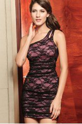 $12.88 Alluring Asymmetrical One-Shoulder Backless Lace Bodycon Dress For Women