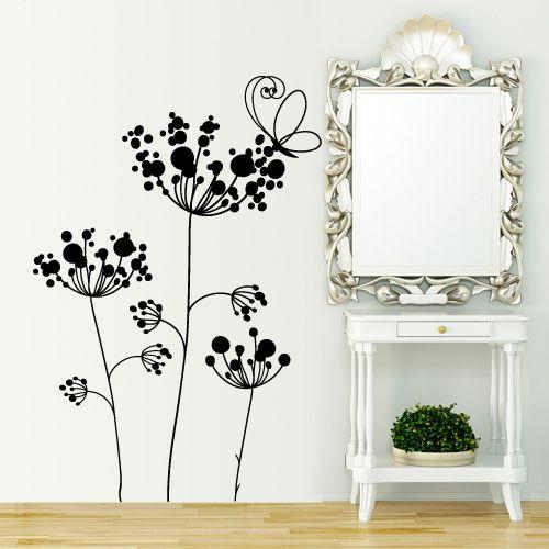 Adesivo murale ... Fiori di campagna (soffioni) con farfalla ...