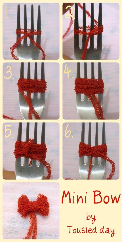 Make tiny bows using a fork