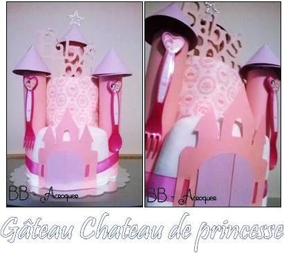 """recette Gâteau couche château:  29 langes 1 body 1 cuillère 1 fourchette 1 bonnet 1 decoration """"baby room"""""""