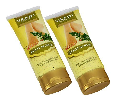 Foot Scrub Cream for Calloused and Dry Feet - Natural, Anti-fungal Callus Remover and Therapeutic Exfoliator - Fast Absorbing. Exfoliant Dead Foot Tissues & Rejuvenates the Rough & Damaged Foot Skin. Makes Your Feet Super Soft & Supple. Made with Fenugreek, Jojoba Seed Grains, Lemon Grass Oil, Walnut Scrub, Turmeric and Kokum Butter. Premium Quality. Value Pack of 2 X 110 Grams - V *** Want to know more, click on the image.