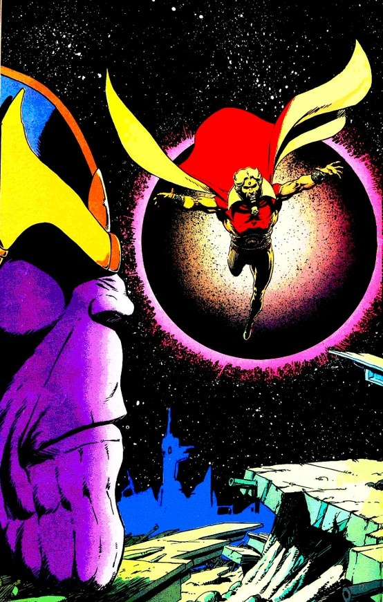 Thanos & Adam Warlock by Jim Starlin :check this out. Remember the cocoon the collecter had in marvel movies? Look for him in the infinity gauntlet story in future Marvel movies. I am telling you he is coming! A.M.