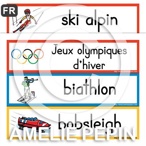 30 mots-étiquettes Fichiers PDF téléchargeables Langue: français Versions: Avec les déterminants et sans les déterminants Formats: 3 mots par page en couleurs (10 pages) et 18 mots par page en noir et blanc (2 pages) Taille des pages: 8,5 X 11 po.  Les mots illustrés sont: Jeux olympiques d'hiver, ski alpin, biathlon, bobsleigh, ski de Fond, curling, patinage artistique, ski acrobatique, hockey sur glace, luge, combiné nordique, short-track (patinage sur piste courte), skeleton, saut à sk...