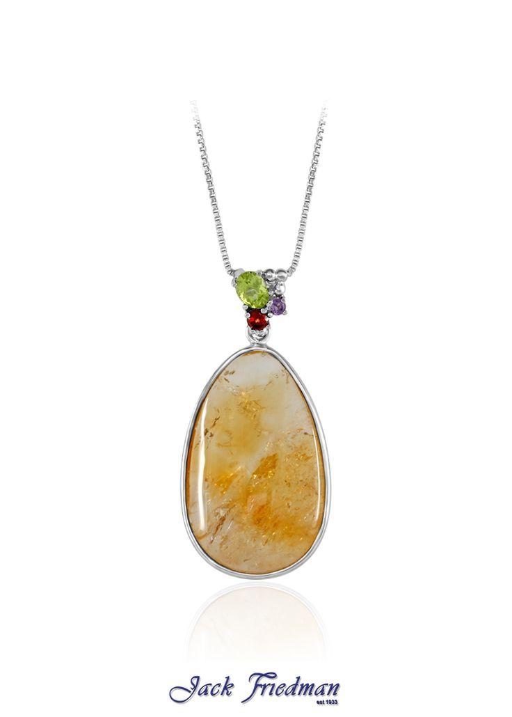 Oval citrine and gemstone pendant set in silver jackfriedman.co.za