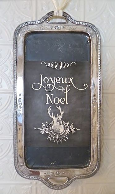 chalkboard silver tray. HEY!!! Somebody make this for me!!! This is so beautifully done. Beautiful calligraphy, centered, and, en francais:).