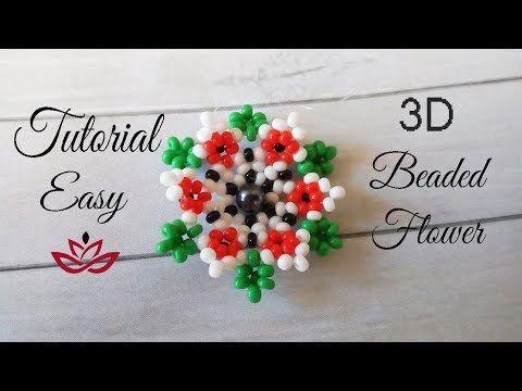 3D beaded flower - tutorial - YouTube