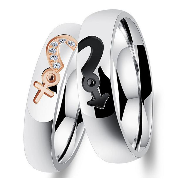 Stainless steel Love Heart Stainless Steel Couple Rings With Cubic Zirconia Lovers Promise Jewelry His And Hers Matchings Set