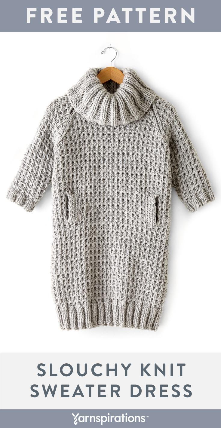Free Slouchy Sweater Dress Knitting Pattern Made With Bernat Roving Yarn Yarnspirations F Sweater Dress Pattern Knitting Women Sweater Cozy Sweater Dress [ 1424 x 735 Pixel ]