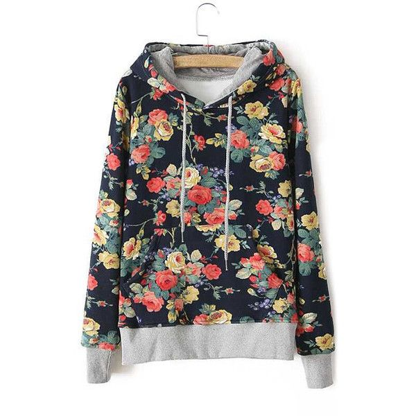 Yoins Hooded Design Random Floral Pattern Pocket Front Sweatshirt (€20) ❤ liked on Polyvore featuring tops, hoodies, black, floral print tops, floral hoodies, flower print tops, pocket tops and hooded top