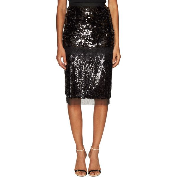 BCBGMAXAZRIA Women's Cristal Sequined Lace Pencil Skirt - Black, Size... ($89) ❤ liked on Polyvore featuring skirts, black, embroidered pencil skirt, knee length lace skirt, embroidered skirt, bcbgmaxazria and sequin skirt
