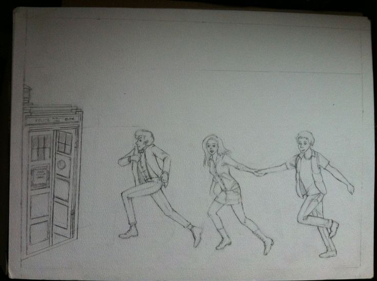 Sketch of the other half of a WIP in watercolor painting featuring the 11th Doctor, Amy and Rory running to the TARDIS.    #doctor who #tardis #drawing #sketch #matt smith #amy and rory