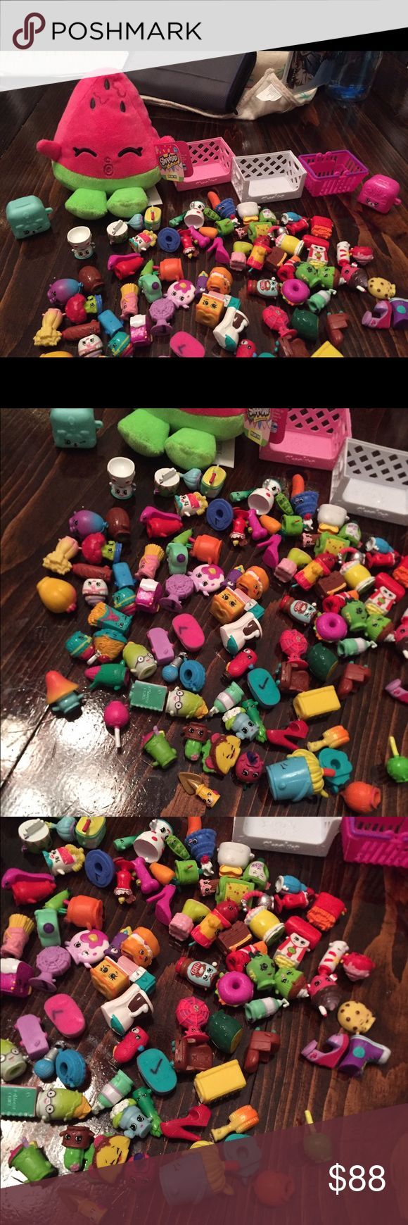 100 shopkins, stuffed animal, 3 baskets, 2 fridges Come with everything you see here! Some may have a tiny marking beneath them because my sister wanted to know which where hers when she had her friends over and they played. Stuff animal is new with tags Other