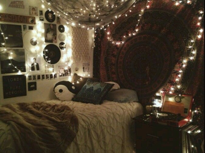 Fairy Lights, Teen, Girl, Tapestry, Boho