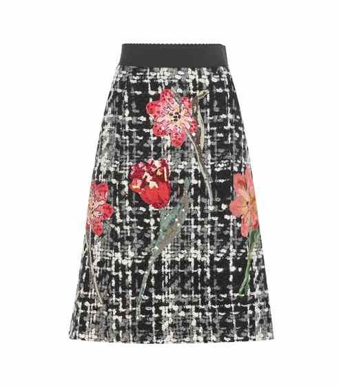 Embellished wool and cotton-blend bouclé skirt | Dolce & Gabbana