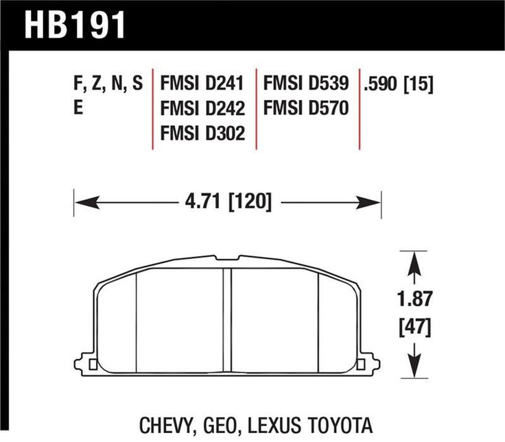 Hawk 85-89/93 Toyota Celica/ 92-98 Paseo/ 84-92 Corolla/ 85-95 MR2/ 83-98 Tercel/ 91-92 Geo Prizm/ 86-88 Chevy Nova/ 84-86 Camry Race Front Brake Pads