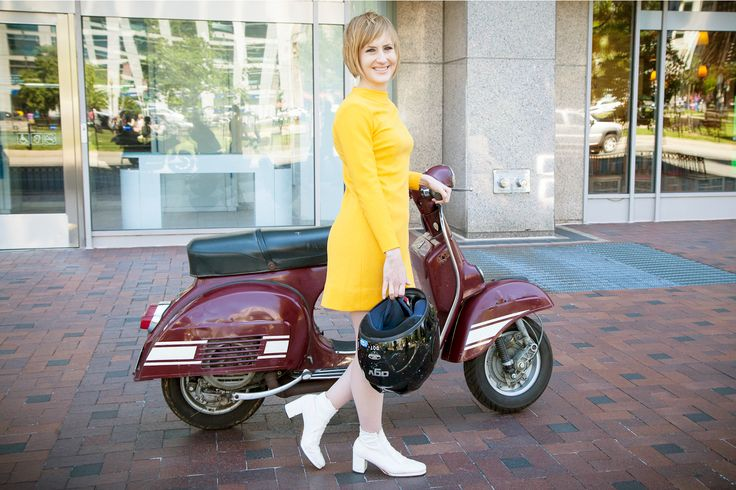 6 So-Chic Scooter Owners Show Us How They Ride In Style #refinery29  http://www.refinery29.com/2013/06/49080/vespa-street-style#slide-14  Andria Leo rides her vintage scooter to work as an archivist at the Architect of the Capitol, then scoots across town to DJ and sing at venues like the Black Cat. Cool, right? Both her personal style and her scooter purchases are inspired by her love of all things mod. Catch her next show at Solly's U Street Tavern, where she'll be playing with her new ...